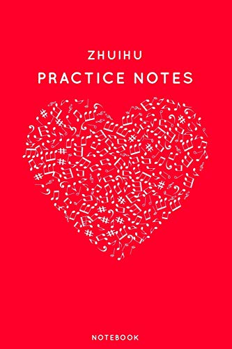 """Zhuihu Practice Notes: Red Heart Shaped Musical Notes Dancing Notebook for Serious Dance Lovers - 6\""""x9\"""" 100 Pages Journal (Instrument Book Series, Band 530)"""