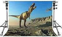 HD恐竜の背景ジュラ紀時代の山7X5フィートの写真の背景をテーマにしたパーティーの写真ブースYouTubeの背景XCMT468