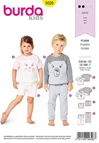 Burda Schnittmuster 9326, Pyjama [Unisex, Gr. 86-122] zum selber nähen, ideal für Anfänger [L2]