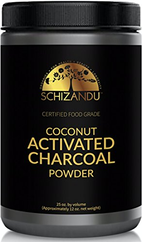 Schizandu Organics Activated Coconut Charcoal Powder, Vegan 100% Pure Detox | Use for Skin & Body Detoxification, Teeth Whitening, Digestive Health, to Alleviate Bloating and Gas