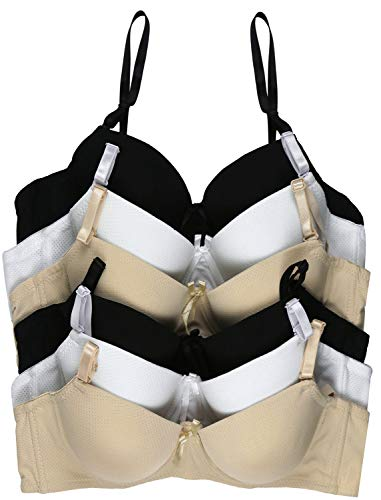 ToBeInStyle Girl's Junior Pack of 6 Wired A-Cup Bras with Convertible Straps - Assorted - 28A