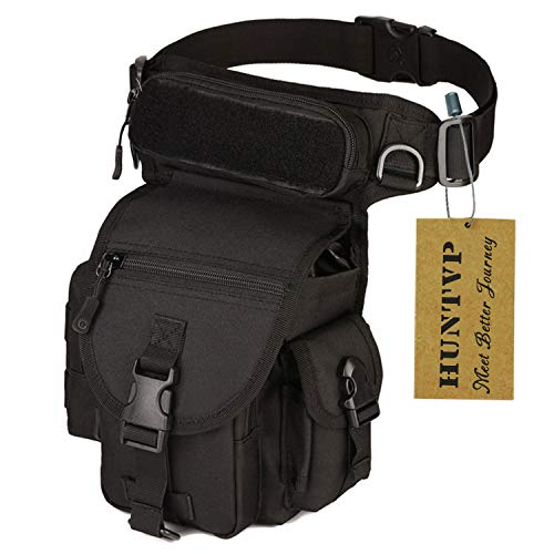 Huntvp Bolsa de Pierna Bolsa Táctical Militar Impermeable para Correr Senderismo Ciclismo Camping Caza, Negro/Verde/Marrón/Camuflaje