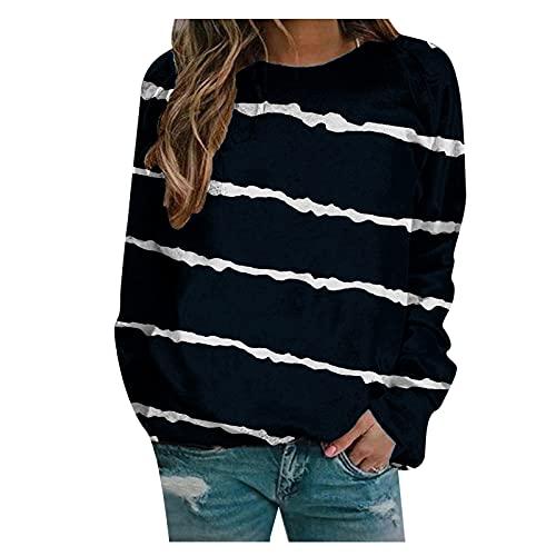 Aoklidil Camiseta de manga larga para mujer, a rayas, cuello redondo, manga larga, jersey básico, ropa, Negro , L