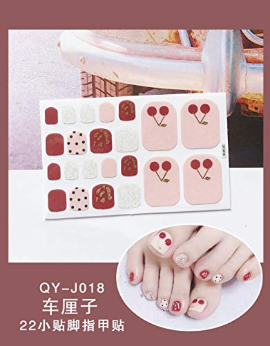BGPOM Foot Stickers Nail Stickers Nail Stickers Fully Waterproof Lasting 3D Toenail Stickers Patch 10 Sheets/Set,Cherries (QY-J018)
