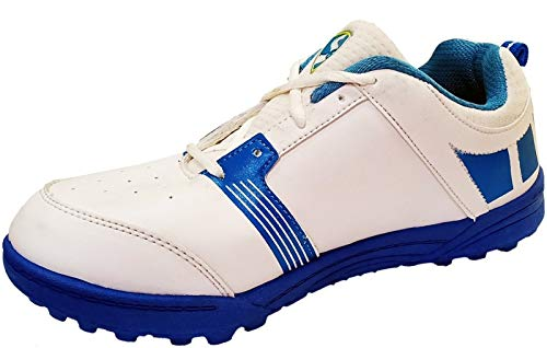 SG Light Weight Economy Cricket Shoes Rubber Studs, White/Aqua/Royal Blue - 2 UK