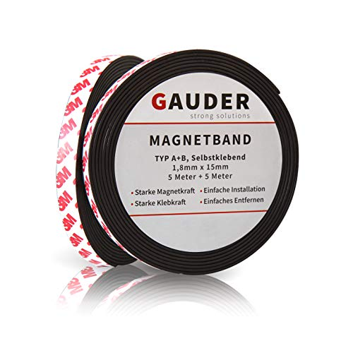 GAUDER A+B Magnetic Tape | Magnet Strips for Fly Screen and Mosquito Net | Self Adhesive Magnet Roll Side A and B