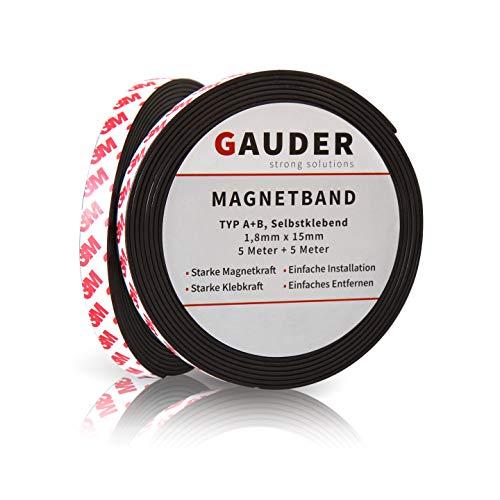 GAUDER Typ A + B Magnetband stark selbstklebend I Für Fliegengitter und Vorhänge I Magnetstreifen