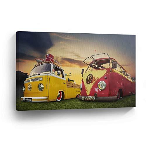 cwb2jcwb2jcwb2j Canvas Print Klassieke Volkswagen Van En Vrachtwagen Print Huisdecoratie Camper Oude Vintage Bus Wall Art Gallery Ingelijste Canvas Klaar om op te hangen