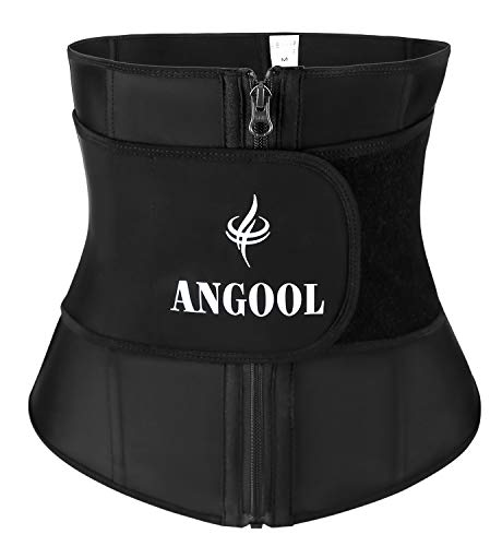 ANGOOL Latex Sweat Waist Trainer for Weight Loss with YKK Zipper,Women Corset Trimmer Slimmer Belt Body Shaper