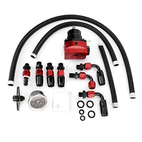 Kit de válvula reguladora de presión de combustible de aluminio ajustable universal + Kit de conectores de ajuste AN6 de manómetro de presión de 100 psi(negro + rojo)