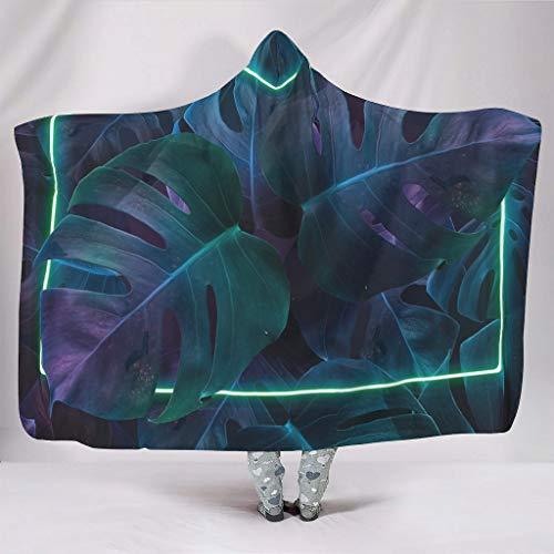Fineiwillgo Manta con capucha de palmera hawaiana y planta tropical con capucha, muy suave y cálida, para adolescentes, de peluche, para sofá o sillón, color blanco, 150 x 200 cm