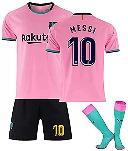 Jersey de fútbol Jersey Jersey Uniformes de fútbol, 2021Méssi No.10 Barcélona Hogar y alejado Jersey de fútbol, adultos para niños Desprecible para niños Camiseta transpirable T-shirts Calcetines