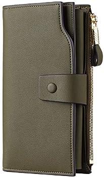 Travelambo Womens RFID Blocking Large Capacity Luxury Waxed Genuine Leather Clutch Wallet Multi Card Organizer  ReNapa Green Army