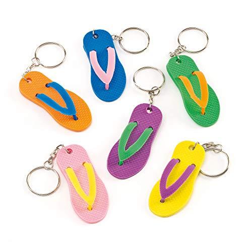Baker Ross Coole Flip Flop-Schlüsselanhänger - zum Basteln für Kinder - toller Schmuck für Taschen - 6 Stück