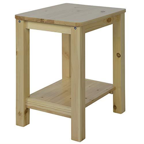 Homestyle4u 1826, Nachttisch Natur, Beistelltisch Holz Kiefer mit 2 Ablagen