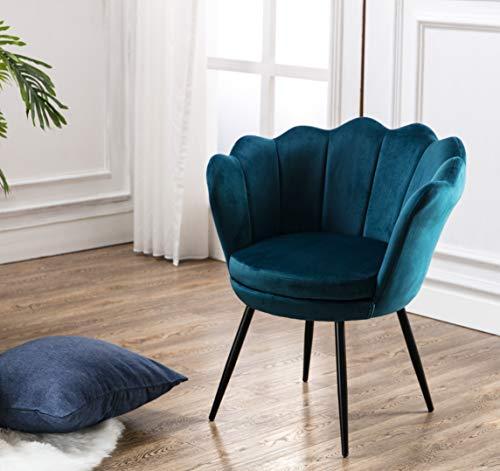 Wahson Sillón Lounge Terciopelo con Patas de Metal, Butacas de Salón para Dormitorio/Tocador/Recepción (Verde Azulado)