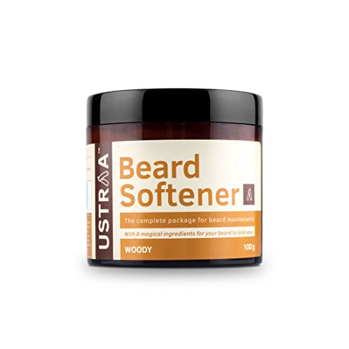 USTRAA Beard Softener Balm Woody - 100g - Softens and nourishes your beard without Sulphates or Parabens, Long lasting moisturization and shine for a nourished, itch-free beard