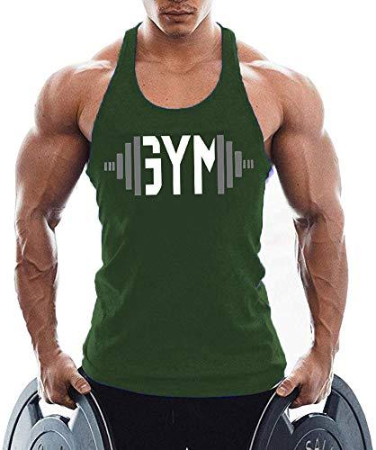 TX Apparel Canotta da uomo Fitness Stringer Gym Shirt cotone verde XL