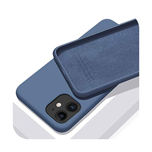 Funda de silicona líquida original para Apple iPhone 11 12 Pro Max Mini 7 8 6 6S Plus XR X XS MAX 5 5S SE a prueba de golpes - Azul marino - Para iPhone 6 Plus