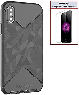 Tech21 Bundle: Evo Tactical Case for iPhone X/Xs - Black – Drop Protection - Thin – Lightweight - Durable + Bonus Tempered Glass Screen Protector