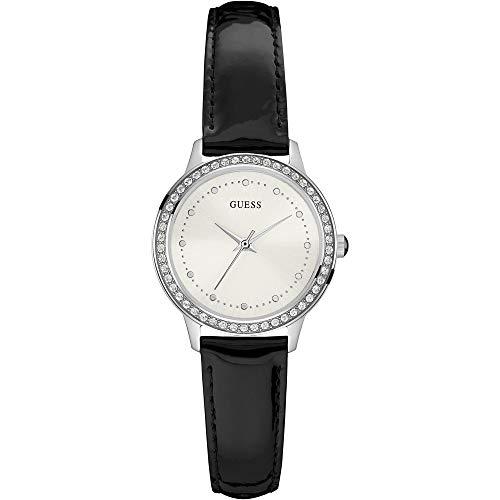 Guess Chelsea - Damenuhr - Armbanduhr - Edelstahl - mit Steinen besetzt - Lederarmband Schwarz