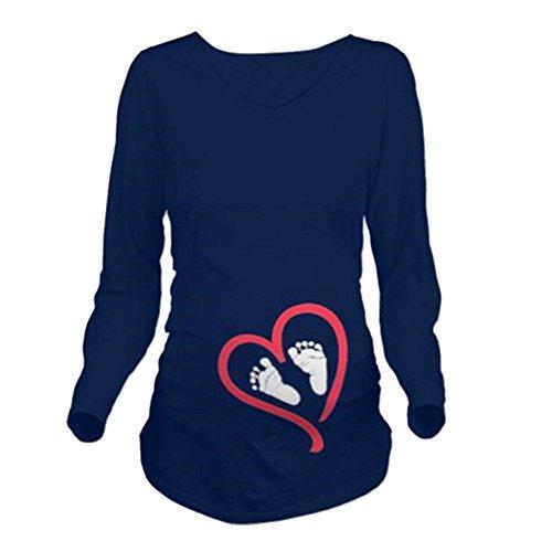 Q.KIM Camiseta Divertido Estampada de Manga Larga Premamá para Mujer Embarazo Lactancia T-Shirt (S, Foot,Azul)