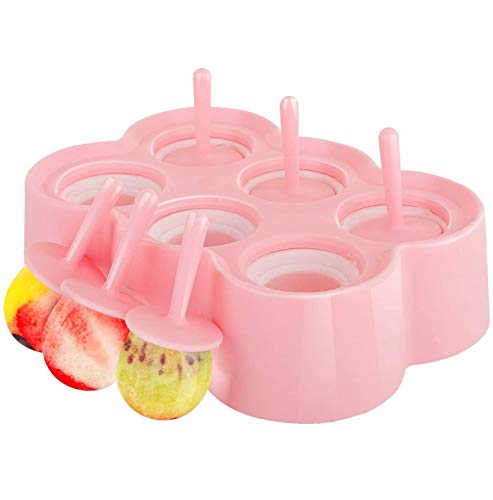 XSBBY Moule à Glace en Silicone sans BPA, Bac à Glaçon Rectangulaire avec 6 Cellules pour Popsicle Crème Boisson Glacé et DIY Familial, Outil Gadget de Cuisine Ice Pop Mold (Coloré)