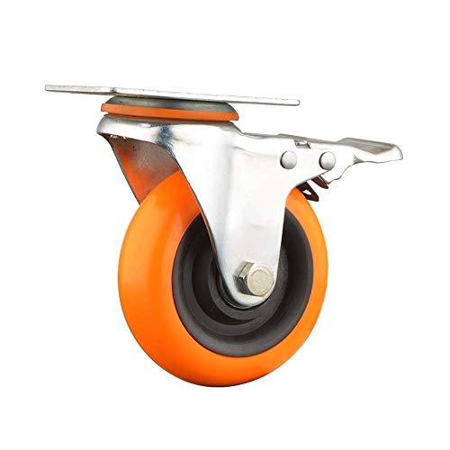 N&O Renovierungshausrollen Heavy Duty Industrierolle 75 100mm PU-Gummirolle 2X Bockrollen + 2X Lenkrolle für die Möbelindustrie (Color : Orange Size : 3in)