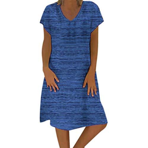 Pottoa Damesjurk, korte jurk met V-hals, korte mouwen, damesjurk, elegante jurk, feestelijk, grote maten jurk, knielang