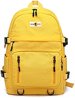 XWenwuSUM Student Bag Female Campus Student Backpack Simple Male Backpack Travel Leisure Bag (Color : Yellow, Size : 18 inch)