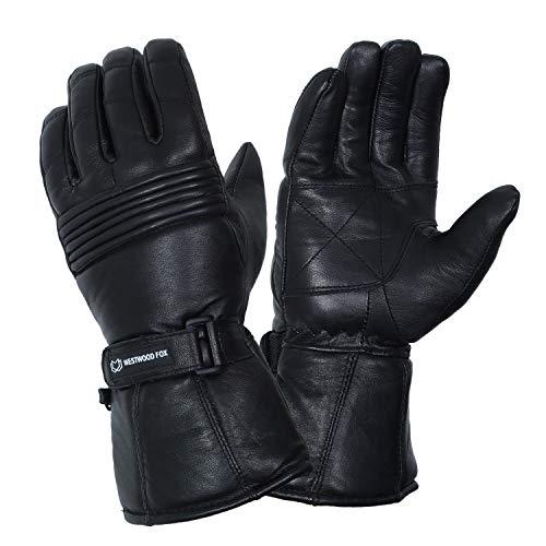 Motorradhandschuhe Thinsulate Thermo Motorrad Leder Handschuhe Wasserdicht Winter Sommer Herren Handschuhe, Schwarz , S