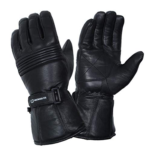 Motorradhandschuhe Thinsulate Thermo Motorrad Leder Handschuhe Wasserdicht Winter Sommer Herren Handschuhe Gr. L, Schwarz