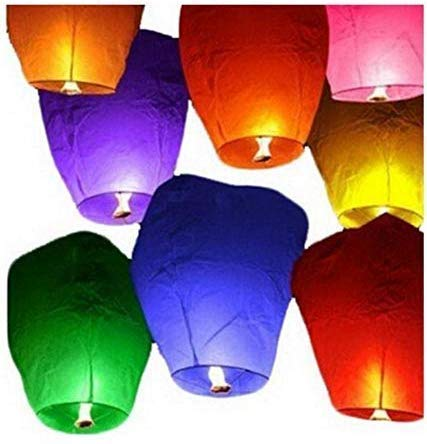 SS Subtle® Sky Lanterns Multicolor Wishing Candle Hot Air Balloon Flying Night Sky Candle for Diwali/Marriage/Christmas/Birthday/New Year All Festival Multicolor (Pack of 5)