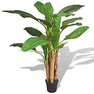 Unfade Memory Artificial Banana Tree Plant with Pot, Fake Tropical Banana Trees for Indoor Outdoor, Home Garden Office Decor (Type 2)