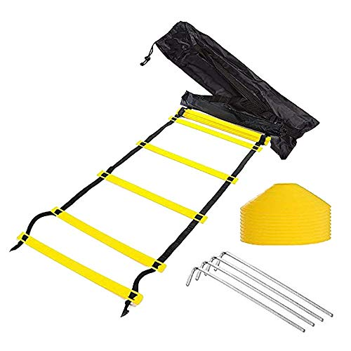 Tebery 12-Rung Adjustable Speed AgilitTraining Ladder-Yellow,Orange(Random Color) + 10 Bonus Cones + 4 Stakes with Black Carry Bag