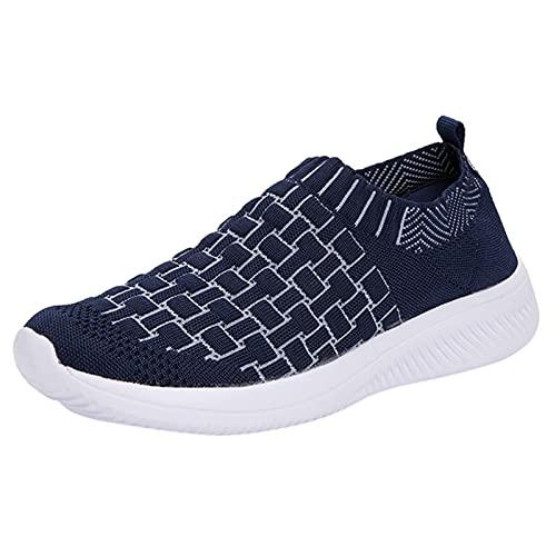 Zapatillas de Senderismo para Mujer Tejidas Ligeras y elásticas Transpirables para Caminar a la Moda, cómodas Zapatillas Deportivas Mary Jane (M16_Dark Blue,39)