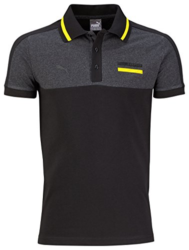 PUMA Herren Polo BVB Premium, black-dark gray heather, M