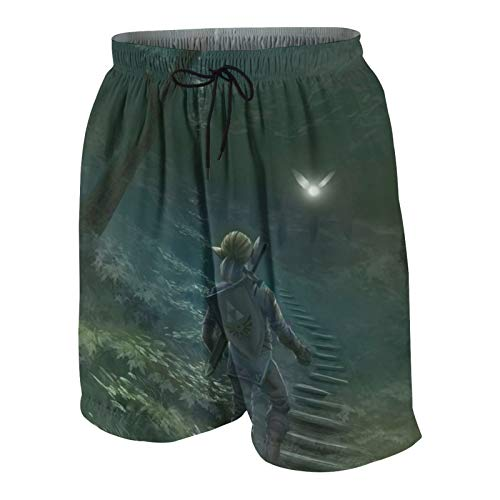 LAOLUCKY Leg-en-d of Zel-d-a Br-ea-th W-il-d Teens Beach Pants Casual Shorts für Jungen Mädchen Badehose Quick Dry Surf Bademode Gr. 48 W/33 L, Ze-lda L-Ink Elf