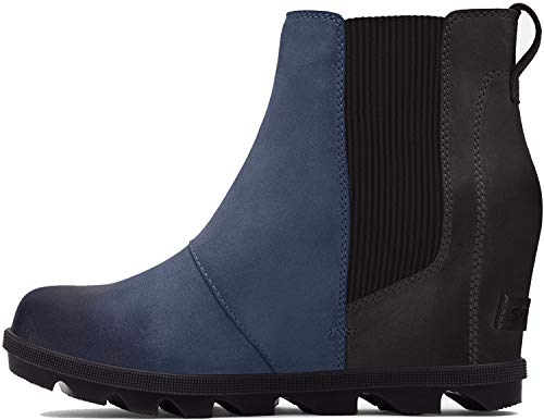 Sorel - Women's Joan of Arctic Wedge II Chelsea, Leather or Suede Ankle Boot, Collegiate Navy, 9.5 M US