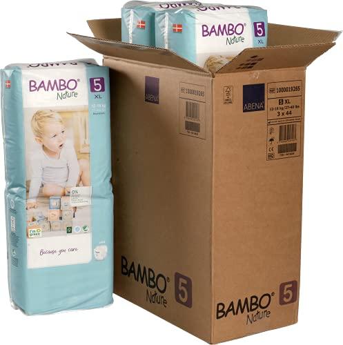 Bambo Nature Premium Eco Pañales, tamaño Junior 5 (27-40lb/12-18 kg) Funda Saver 132 unidades