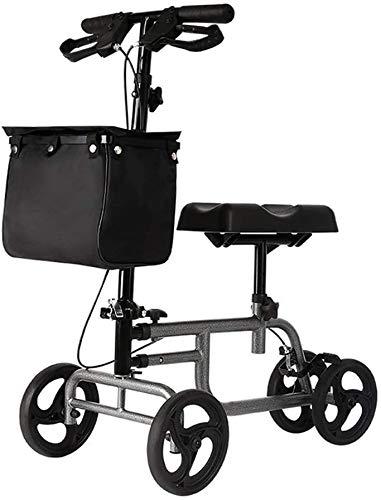 Rodillo andador (todo terreno) - Patinete direccional de 12 pulgadas para lesiones de piernas, pies y tobillos rotos - Carro de cuatro ruedas para rodillas - Almohadilla de asiento ortopédica para
