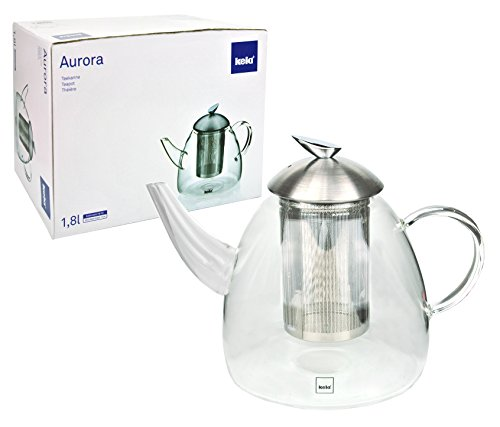 kela Glasteekanne Aurora 1,8 L mit integriertem Teesieb und Deckel aus Edelstahl