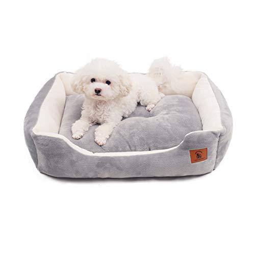 ペットベッド 猫 犬 クッション モチモチ3D綿 ふわふわ暖か リバーシブル通年 洗える S 47x35x15cm グレー