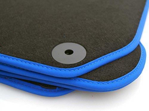 kh Teile Fussmatten passend für Golf 7 Fussmatten Velours Automatten Premium Tunin Zubehör, 4-teilig, Schwarz, Blauer Rand