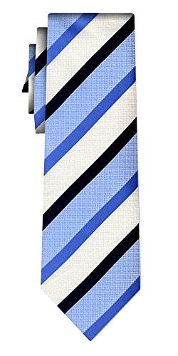 Cravate rayée stripe blue black ecru
