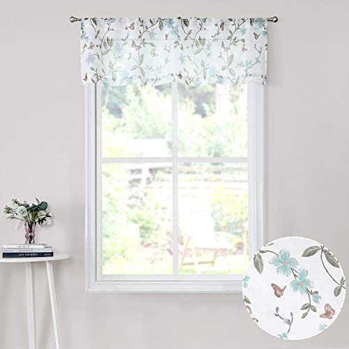 Tollpiz Sheer Floral Curtain Valance Blue Flower Butterfly Printed Bedroom Curtain Valances Rod Pocket Voile Faux Linen Window Valance Curtains for Living Room, 54 x 16 inches Long, Set of 1 Panel