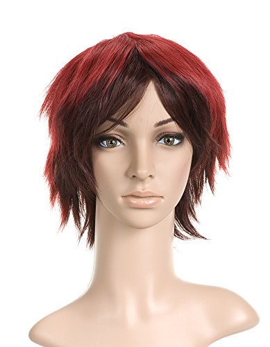 Red and Brown Short Length Anime Cosplay Costume Wig