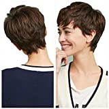 Short Pixie Cut Wigs With Bangs Cute Brown Wig for Woman Man Wigs Natural Looking Wig Heat Resistant Fiber Daily Party Wigs (Brown)