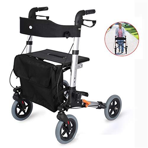 GJNWRQCY Lichtgewicht Opvouwbare Rollator Walker | Vervoerstoel, Dubbele Veiligheidsrek, Verstelbare Hoogte, 4 Wielen Mobility Aids