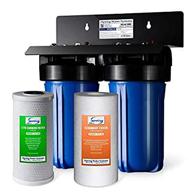 """iSpring WGB21B 2-Stage Whole House Water Filtration System with 10"""" x 4.5"""" Big Blue Sediment CTO(Chlorine, Taste, and Odor) Filter, 1"""" Inlet/Outlet"""